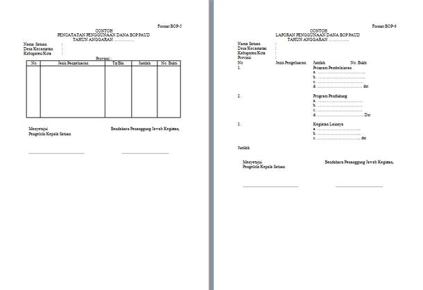 Contoh Format Laporan Penggunaan Dana BOP PAUD