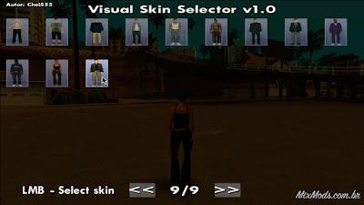 gta sa mod cleo visual skin selector selecionar peds skins escolher mudar