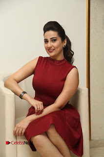 Telugu Tollywood Anchor Manjusha Pos in Red Short Dress  0075.JPG