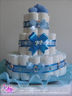 bolo de fralda azul