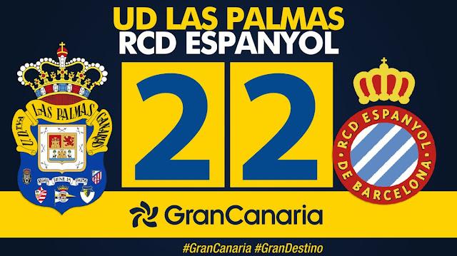 Marcador final UD Las Palmas 2-2 RCD Español