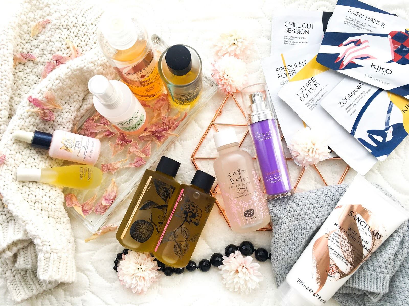 winter beauty preps, winter beauty products, kiko hydrogel masks, the body shop vitamin e range, decleor aromessence, lucy annabella treatment oils