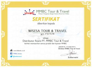 Sertifikat Distributor MMBC Tour & Travel