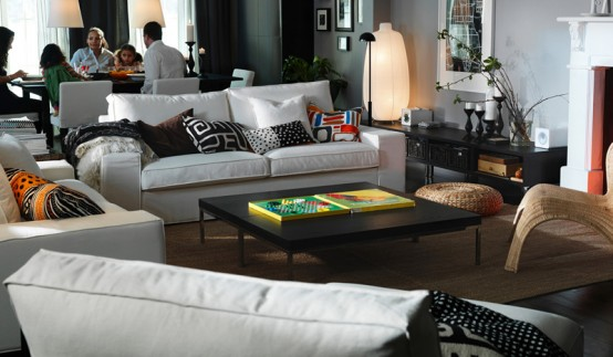 Ikea Living Room Inspiration With Wooden Decoration Model