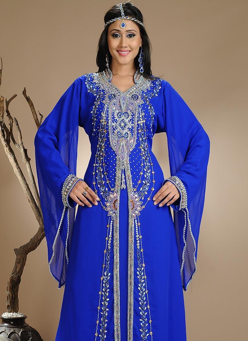 kaftan+Elegant+Blue+Georgette