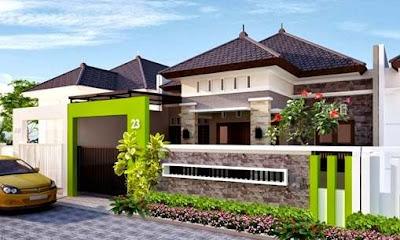 warna cat pagar rumah yang bagus batu alam dan hijau