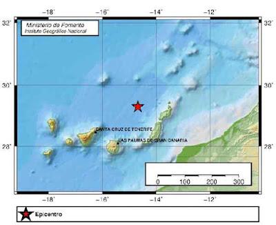 Terremoto Atlántico Canarias 3,4 magnitud, 14 marzo