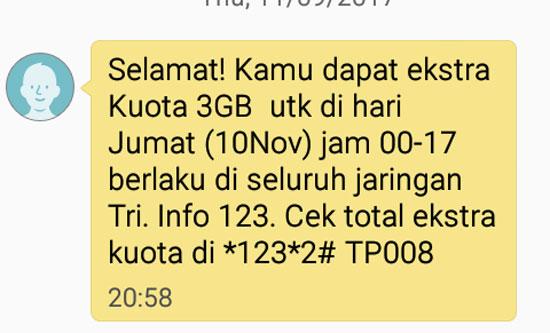 SMS Notifikasi saya juga dapat tambahan 3 GB di hari yang sama Jumat 10 Nopember 2017.  Kartu TRI menepati janjinya.  Gambar dari Android