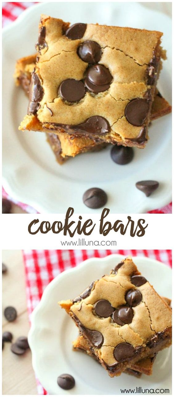 CHOCOLATE CHIP COOKIE BARS #chocolate #chip #cookie #cookierecipes #bars #cake #cakerecipes #dessert #dessertrecipes