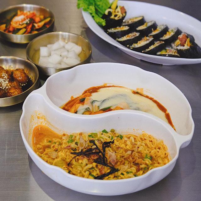 Ramyeon, Cheese Tteokbokki, and Gimbap