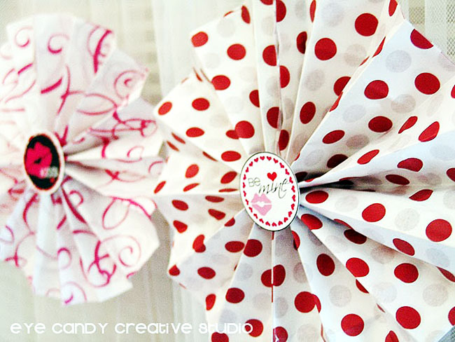 valentines day decor ideas, accordian fans, polka dot tissue fans