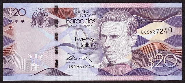 Barbados Banknotes 20 Dollars banknote 2013 Samuel Jackman Prescod