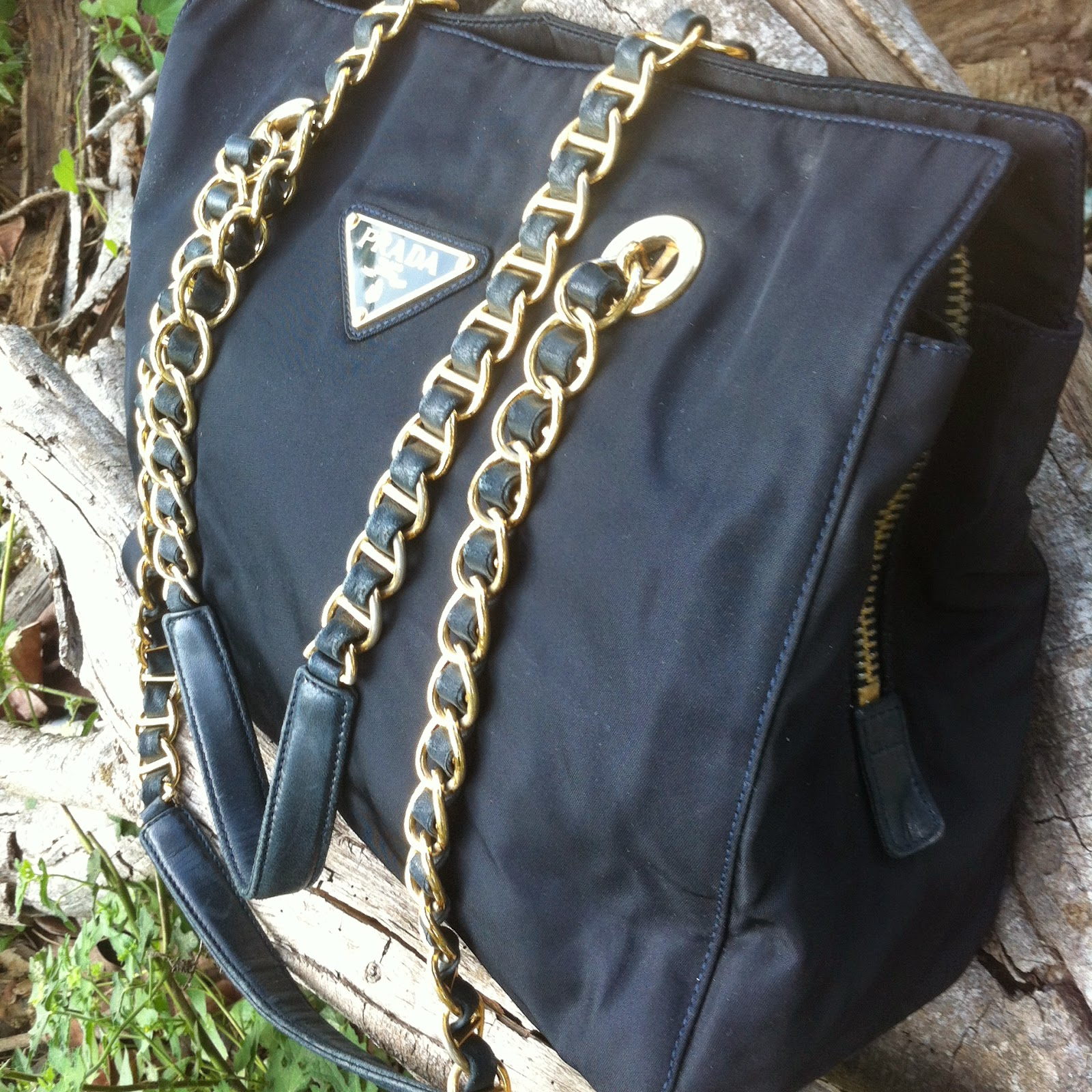 61edf5dfcea8 ... australia prada vintage black tessuto nylon gold chain strap shoulder  bag sold 2a665 717bb