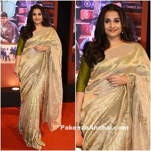 Vidya Balan in Anavila Tissue Self Print Saree