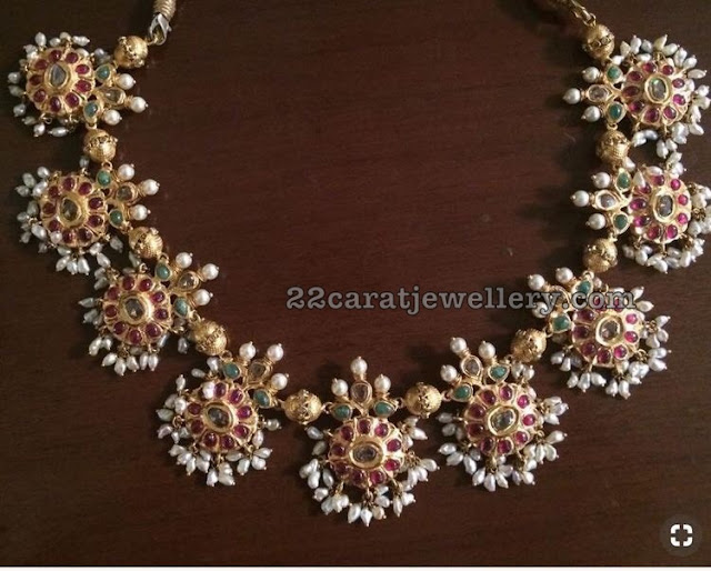 Ruby Floral Necklace with Rice Pearls