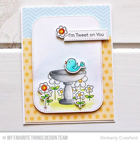 Handmade card from Kimberly Crawford featuring I'm Tweet on You stamp set and Die-namics, Inside & Out Stitched Rounded Rectangle STAX and Blueprints 28 Die-namics #mftstamps