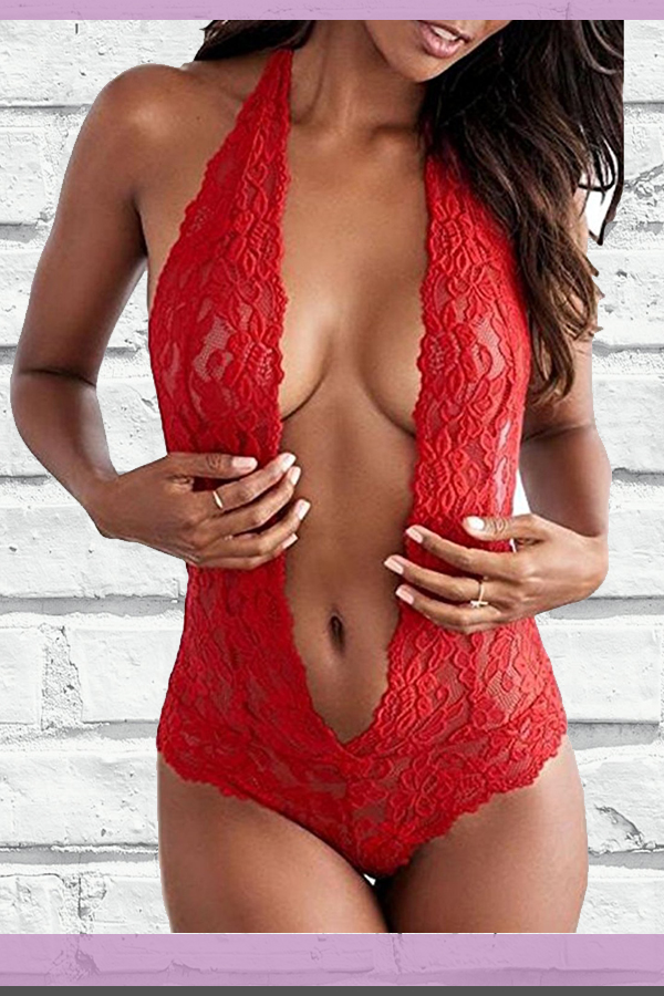 cc6e005c5cc98 MIYU Womens Halter Sexy Lingerie Lace Teddy Bodysuit Deep V Open Back  Nightwear Plus Size Price   8.99 -  12.68.