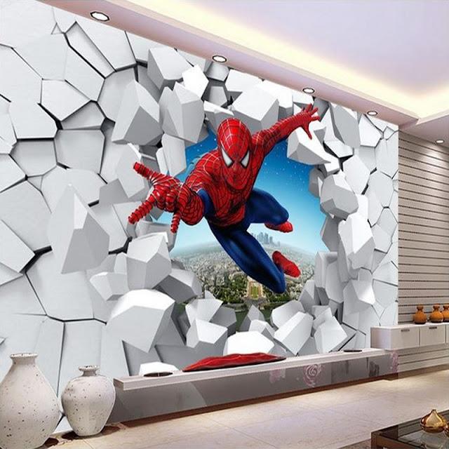 Superhero wall murals 3d wallpaper mural childrens room 3D comics Photo Wallpaper Kids Boys spiderman