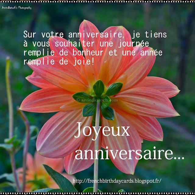 souhaiter, journée, remplie, bonheur, French Birthday Card, happiness, joy,