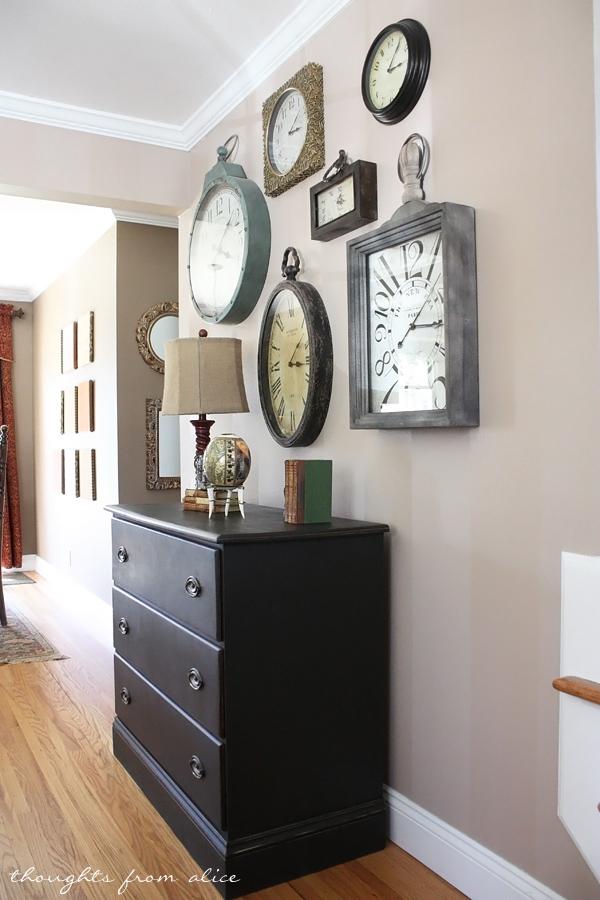 Clock Gallery Wall And An Ascp Dresser Makeover