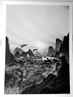 RIchard Wright's Eldar Jetbike - Black and White