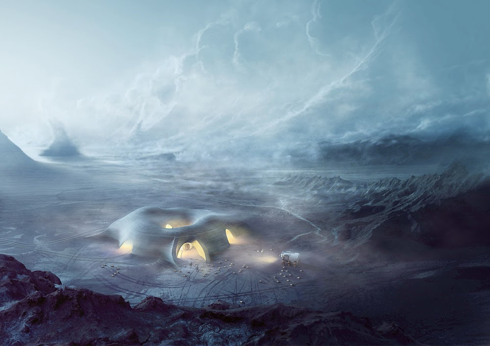 Sandstorm approaching 3D-printed Mars base by Hassell & EOC (NASA's 3D-Printed Habitat Challenge)