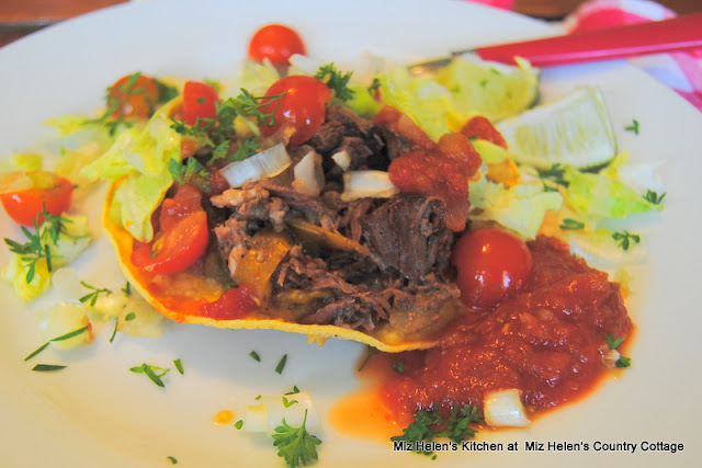 Slow Cooker Beef Tostada's at Miz Helen's Country Cottage