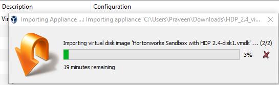 Import HortonWorks Sandbox