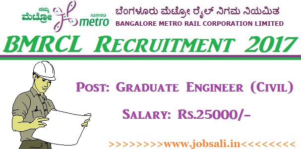 Bangalore Metro Recruitment, Bangalore metro jobs, BMRCL Careers