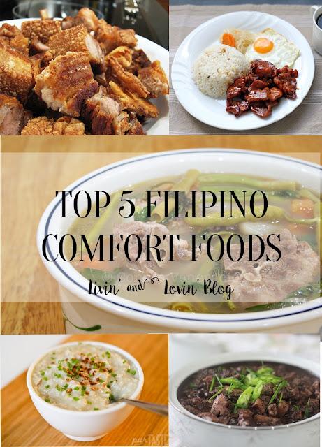 Filipino Comfort Foods: sinigang, dinuguan, arroz caldo, lechon kawali, tosilog