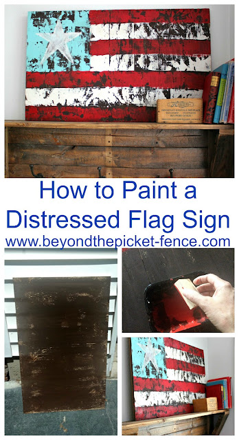 DIY Distressed Flag Sign