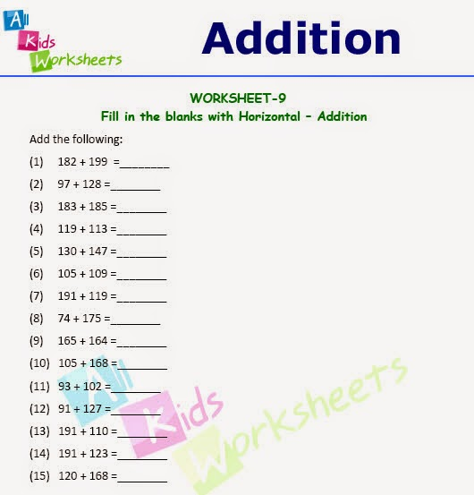 class 1 horizontal addition worksheet allkidsworksheets. Black Bedroom Furniture Sets. Home Design Ideas