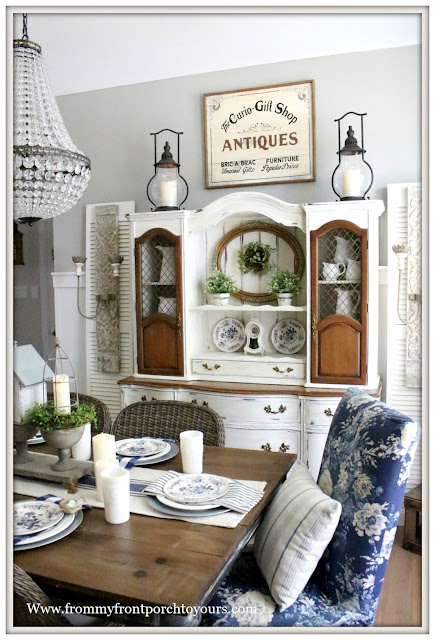 French Country Farmhouse-Dining Room-French Farmhouse-French Sconces-Vintage-Gold Frame-Birds Nests-From My Front Porch To Yours