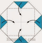 Bước 3: Gấp bốn góc tờ giấy vào trong.