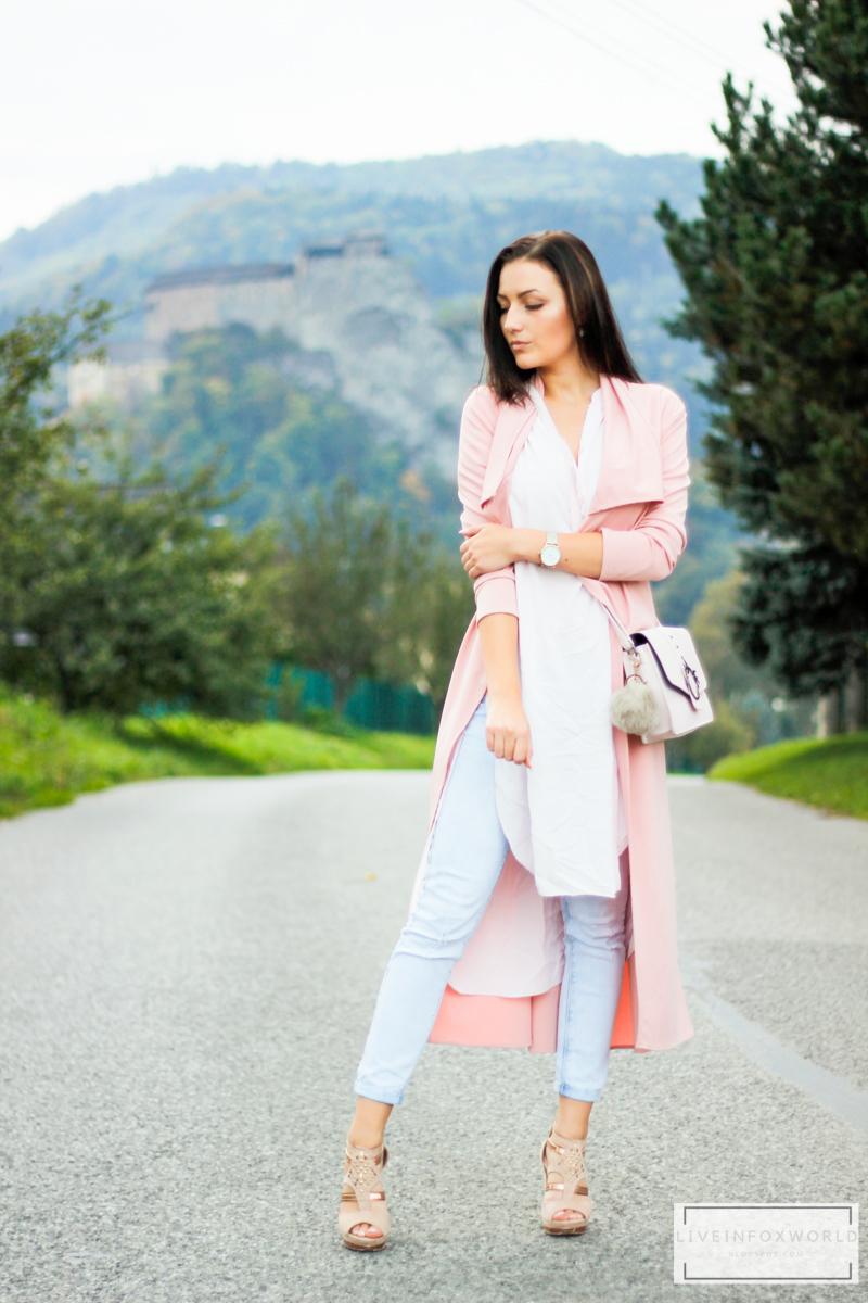 Baby pink duster coat