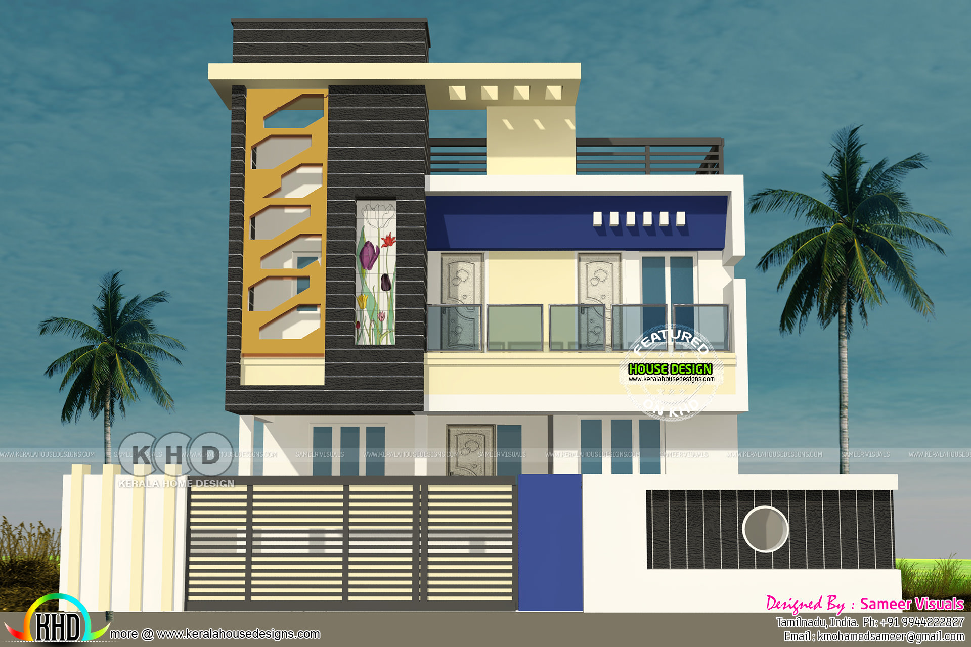 Tamilnadu style 3 bedroom modern home plan kerala home for Tamilnadu home design photos