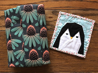 sewing folio case and paper pieced patchwork quilted penguin