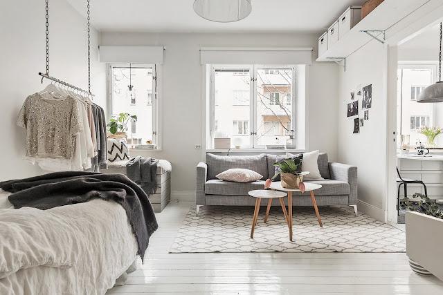 Amenajare în alb și gri într-o garsonieră de 35 m²