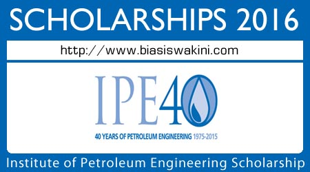 Institute of Petroleum Engineering 40th Anniversary Scholarship 2016