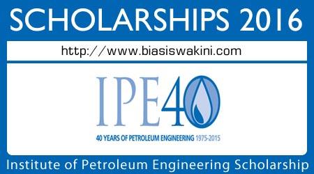 Institute of Petroleum Engineering 40th Anniversary Scholarship 2016