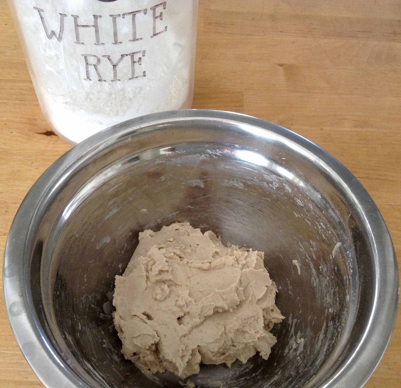 The rye starter is made with white rye