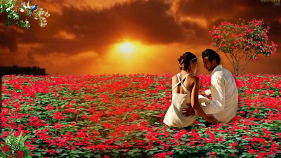 lovelycouple-sitting-on-flowers-at-silent-place