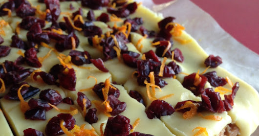 Chunky white choc, orange and cranberry slice