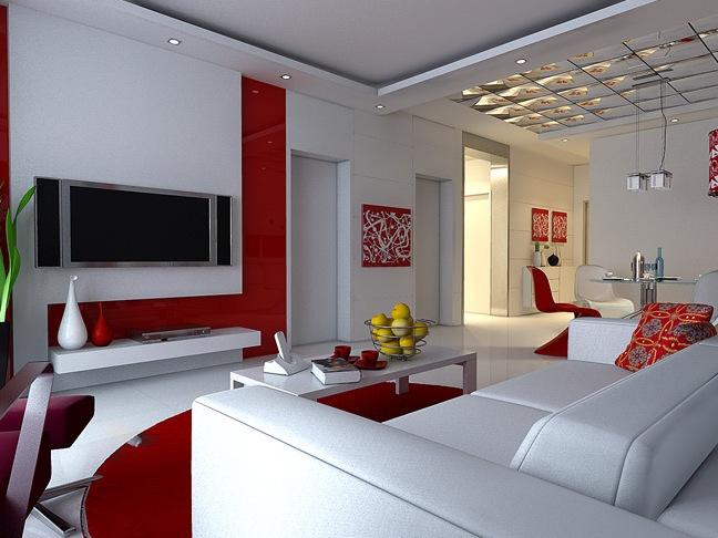 Salas decoradas en rojo y blanco colores en casa for Decoracion de accesorios