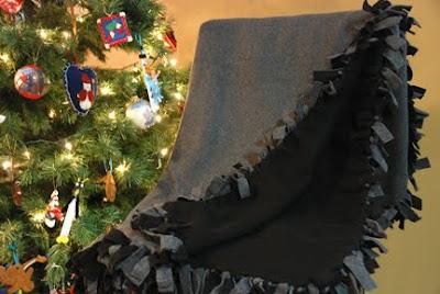 grey black fleece blanket