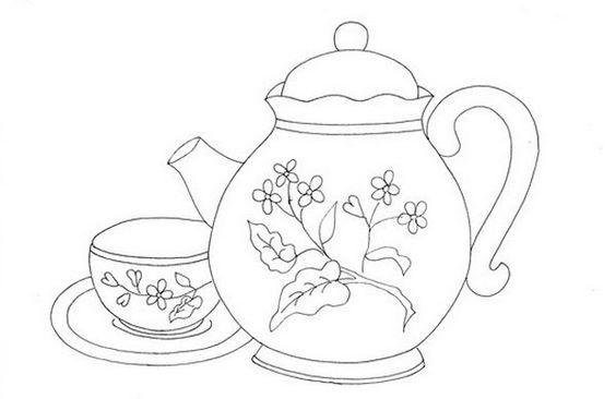 Tranh tô màu ấm trà và tách trà trang trí bông hoa