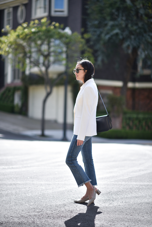 cropped flared jeans with white blazer chic stylish street fashion