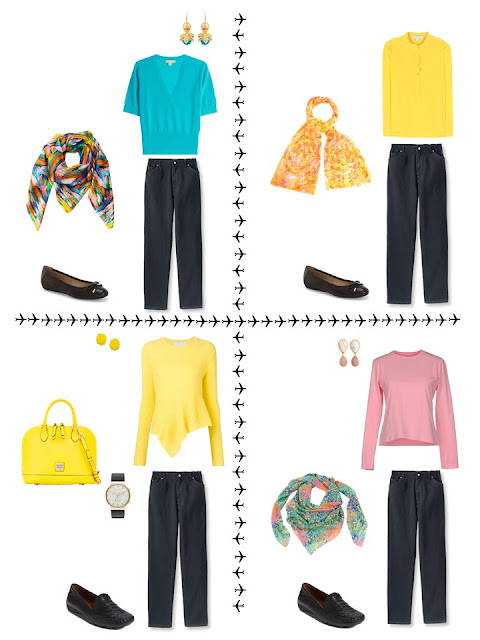 4 outfits from a travel capsule wardrobe in black, coral, yellow and turquoise