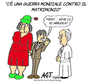 papa francesco, matrimonio, umorismo, vignetta, satira