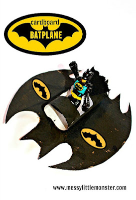 Batman activity ideas for kids.  Make and play with a Batplane.  Great craft for boys and superhero fans.